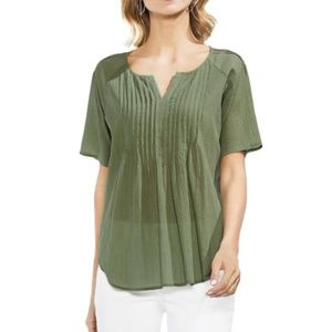 NEW Vince Camuto Green Shutter Pleated V Neck Top